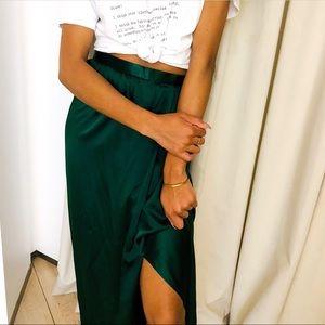 Vintage Albert Capraro Emerald 100% Silk Skirt S